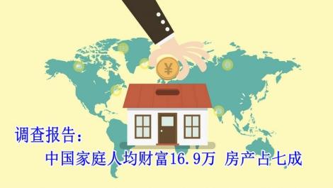 调查报告:中国家庭人均财富16.9万 房产占七成