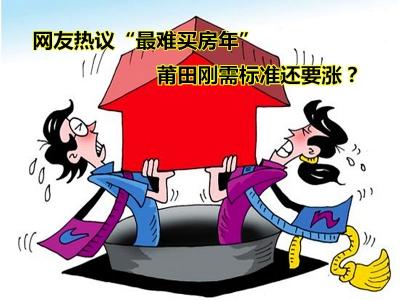 """网友热议""""最难买房年"""" 莆田刚需标准还要涨?"""