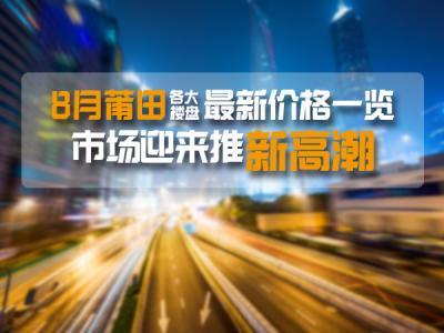 8月莆田各大楼盘最新价格一览 市场迎来推盘高潮