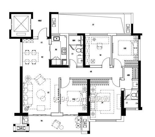 120方四房二厅设计图