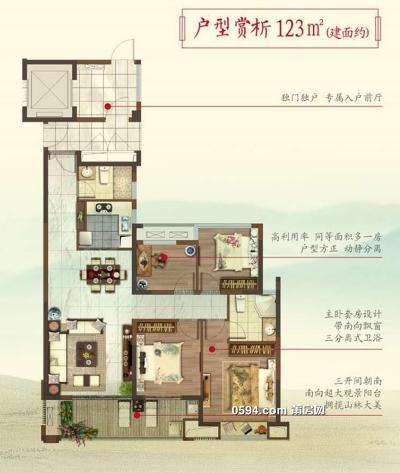 联发君领天玺4房2厅2卫123平米 中高层南北通透 均价16000-莆田二手房