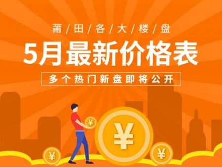 莆田各大楼盘5月最新价格表 多个热门新盘即将公开