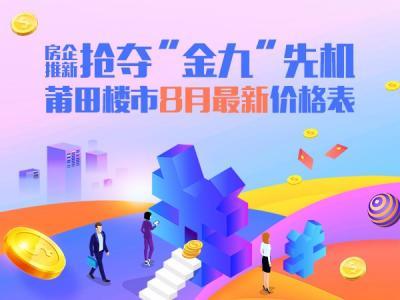 """房企推新搶奪""""金九""""先機 莆田樓市8月最新價格表"""