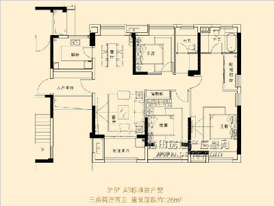 3、5#楼A3标准层户型