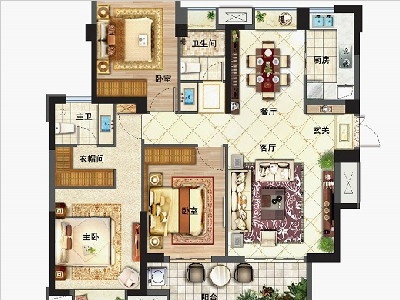 1#2#3#樓120㎡三房兩廳兩衛