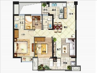 1#2#樓90㎡三房兩廳兩衛