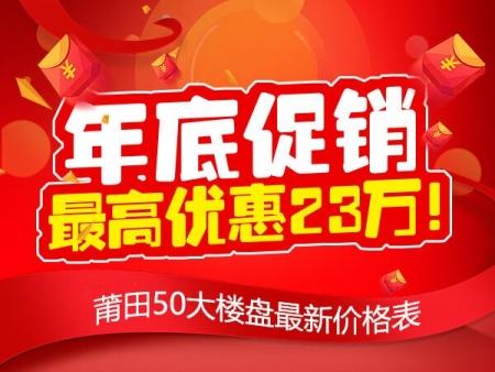 年底促销 最高优惠23万!万博博彩官网50大楼盘最新价格表
