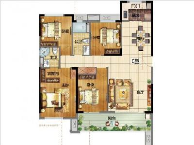 B地1#2#3#5#6#9#10#13#16#17#楼130㎡四房两厅两卫两阳台