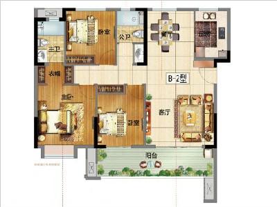 B地15#樓115㎡三房兩廳兩衛兩陽臺