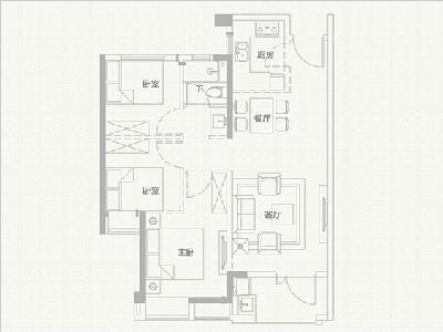 6#楼88㎡三房两厅一卫