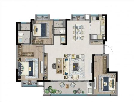 128㎡ 3房2廳2衛