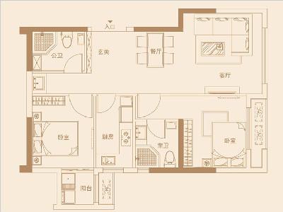 11單元90㎡兩房兩廳一廚